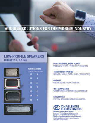 Low Profile Speaker Series for Mobile Industry